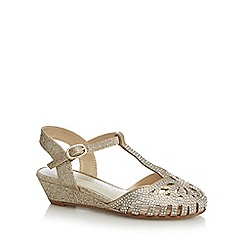 RJR.John Rocha - Girls' gold jewel t-bar caged toe wedge sandals