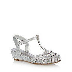 RJR.John Rocha - Girls' silver jewel t-bar caged toe wedge sandals