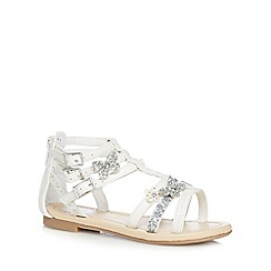 bluezoo - Girls' white butterfly applique sandals