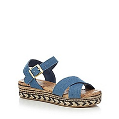 bluezoo - Girls' navy denim wedge flatform sandals