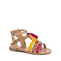 bluezoo - Girls' tan tasseled sandals