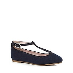 J by Jasper Conran - Girls' navy glitter T-bar sandals