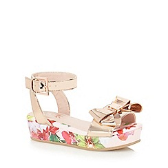 Baker by Ted Baker - Girls' rose gold exotic orchid print flatform sandals