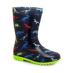 bluezoo - Boys' blue dinosaur print wellies