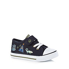 Mantaray - Boys' navy denim badge embroidered trainers