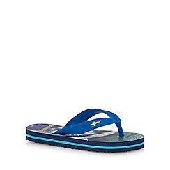 bluezoo - Boys' blue shark print flip flops