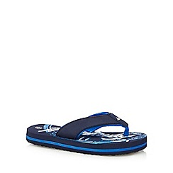 Mantaray - Boys' blue logo print flip flops