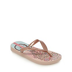 Ipanema - Girls' pink Paris print flip flops
