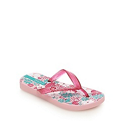 Ipanema - Girls' pink and blue birdy print flip flops