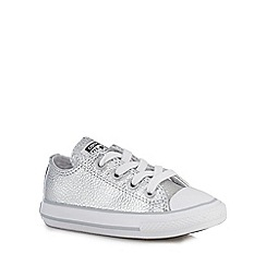 Converse - Girls' silver leather trainers