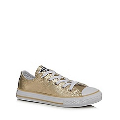 Converse - Girls' gold lace up trainers
