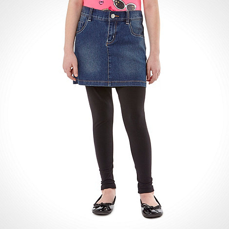 bluezoo - Girl's navy denim skirt and leggings