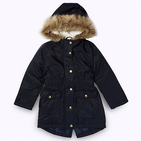bluezoo - Girl+s navy faux fur trimmed parka coat