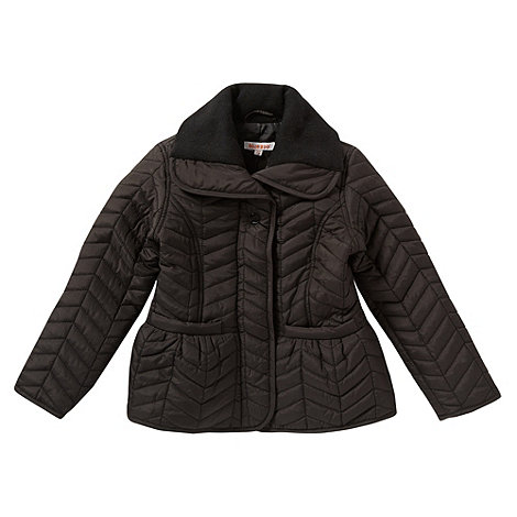 bluezoo - Girl+s black chevron quilted jacket