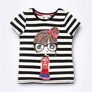 Girl's black striped girl t-shirt