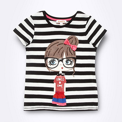 bluezoo - Girl's black striped girl t-shirt