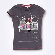 Girl's grey girl in Paris t-shirt