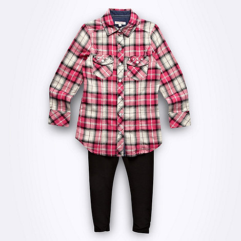 bluezoo - Girl+s pink check shirt and black leggings set