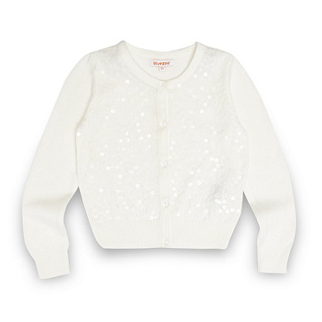 bluezoo - Girl+s white sequin cardigan