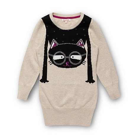 bluezoo - Girl+s cream cat knitted tunic top