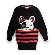 Girl's black striped dog tunic