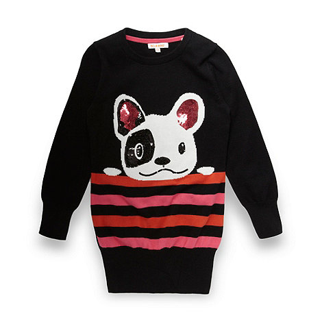 bluezoo - Girl+s black striped dog tunic