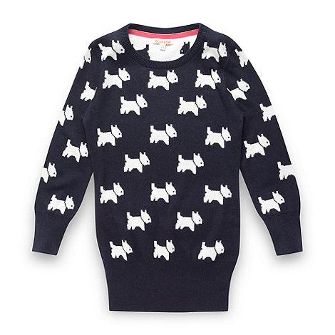 bluezoo - Girl+s navy scottie dog knit tunic