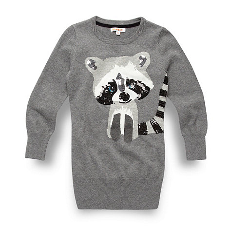 bluezoo - Girl+s grey sequin racoon tunic