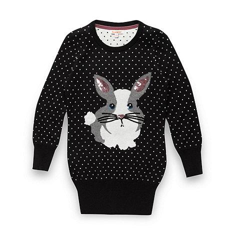 bluezoo - Girl+s black sequinned rabbit jumper
