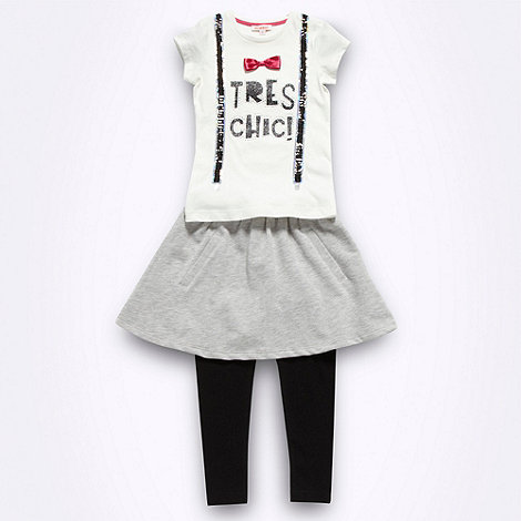 bluezoo - Girl+s black and grey t-shirt, skirt and leggings set