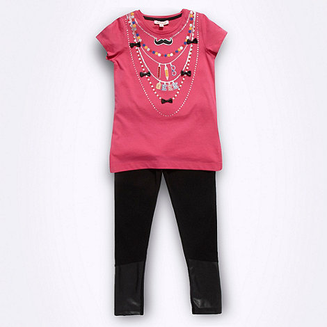 bluezoo - Girl+s pink necklace t-shirt and leggings set