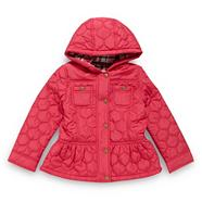 Girl's dark pink oval quilted coat