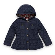 Girl's navy oval quilted coat