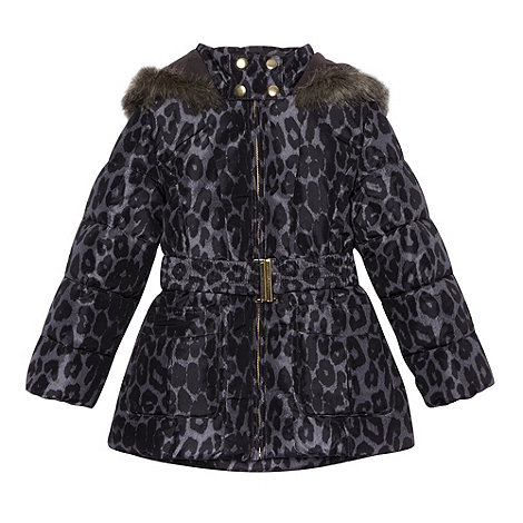 bluezoo - Girl's grey animal printed padded coat
