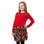 Girl's red sequinned cardigan