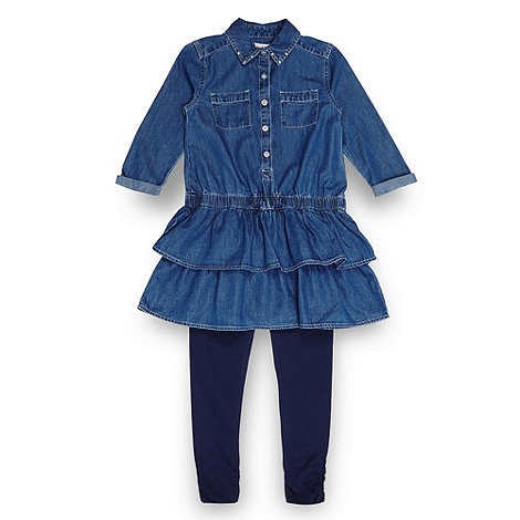 bluezoo - Girl+s blue denim tunic top and leggings