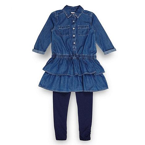 null - Girl+s blue denim tunic top and leggings