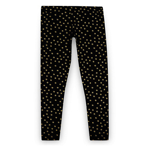 bluezoo - Girl's black paw printed leggings
