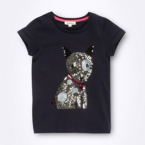 bluezoo - Girl+s navy sequin dog t-shirt