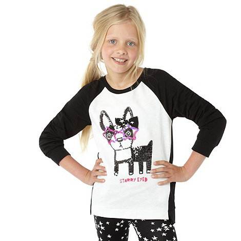 bluezoo - Girl+s black dog printed top and leggings set