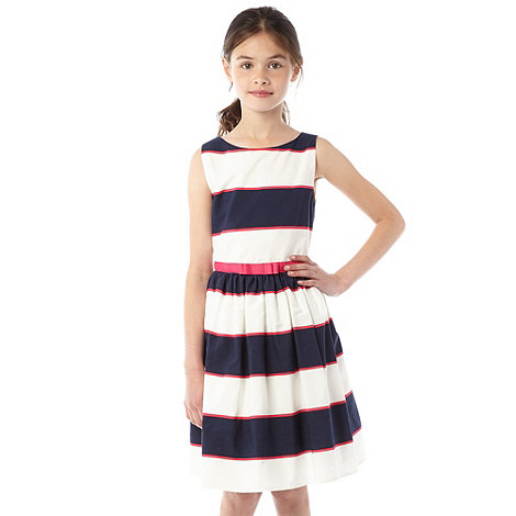 bluezoo - Girl+s block white and navy dress