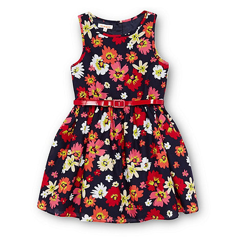 bluezoo - Girl+s navy floral belted dress
