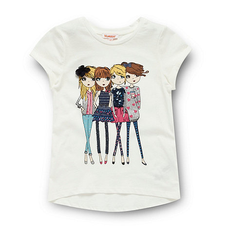 bluezoo - Girl+s off white girl embellished t-shirt