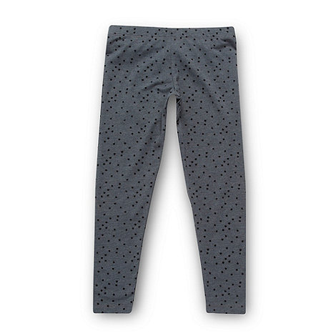 bluezoo - Girl+s grey flocked heart leggings