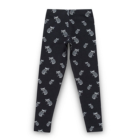bluezoo - Girl+s navy racoon patterned leggings