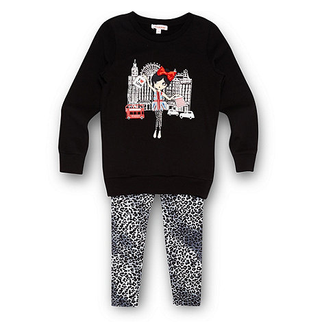 bluezoo - Girl+s black London skyline sweatshirt and leggings