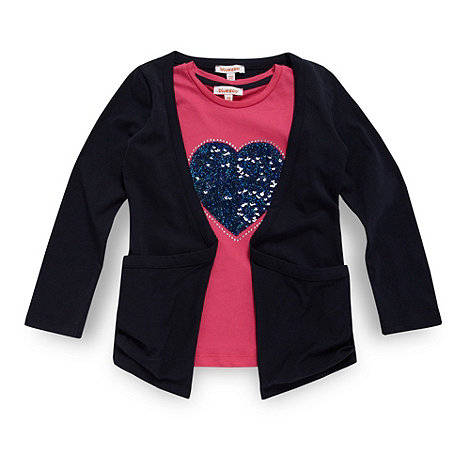 bluezoo - Girl+s pink sequin heart t-shirt and cardigan set