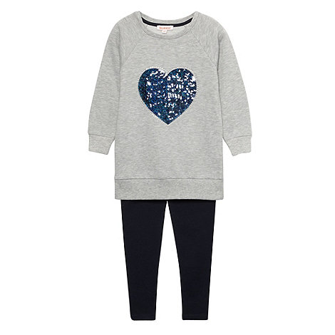bluezoo - Girl+s grey heart jumper and leggings set