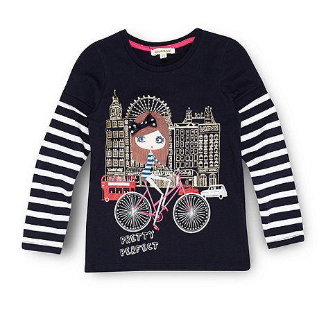 bluezoo - Girl+s navy cycling motif top