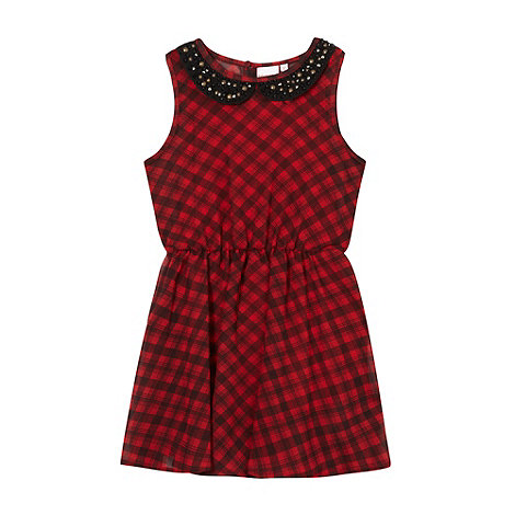 bluezoo - Girl+s red tartan collar dress